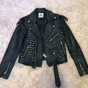 UNIF spiked/ studded metal moto jacket RARE